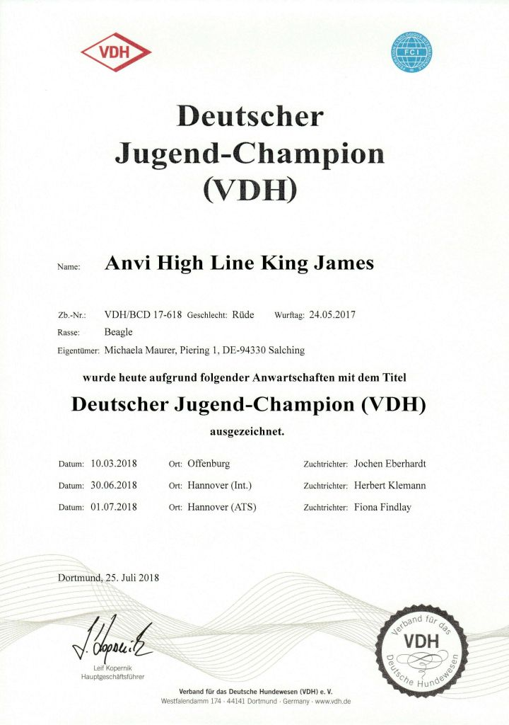 Anvi High Line King James - Deutscher Jugendchampion